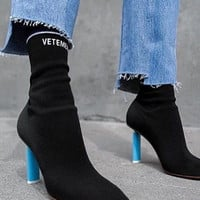 2016 vetement boots Lighter-Heel Stretch fabric Women Boots Sock Jersey Ankle Boots black wine High Heels Ladies Shoes Woman