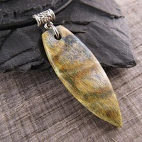Blue And Yellow Surfboard Summer Necklace, Wood Surfboard Jewelry, Colorful Ocean Necklace For Men or Women