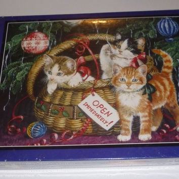 Christmas Holiday Friends Kitten 550 Piece Jigsaw Puzzle