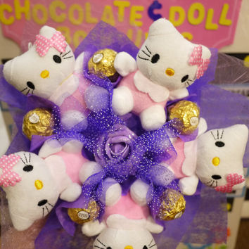 Hello Cute Kitty Plush Doll Bouquet with Ferrero Rocher Chocolates. Great wedding/proposal/birthday gift!