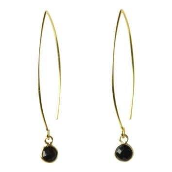 Gemstone Dangle Earrings in Black Spinel