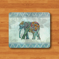 Blue Geometric Pattern Elephant Lace Flower Floral Elephant Mouse Pad Black Drawing Big Animal Desk Deco Rubber Computer Work Pad MousePad