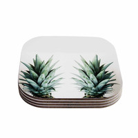 "Chelsea Victoria ""Two Pineapples"" Green Gold Coasters (Set of 4)"