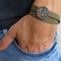 Men's Bracelet - Men's Anchor Bracelet - Men's Coin Bracelet - Men's Olive Bracelet - Mens Jewelry - Jewelry For Men - Gift for Him
