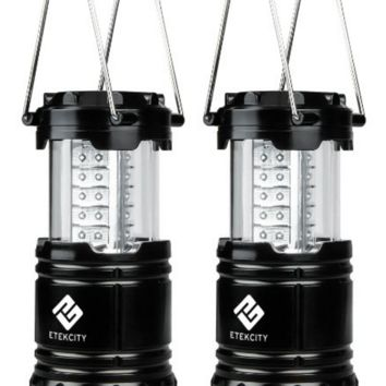 Black Collapsible Durable 2 Pack Portable Outdoor LED Camping Lantern Flashlights
