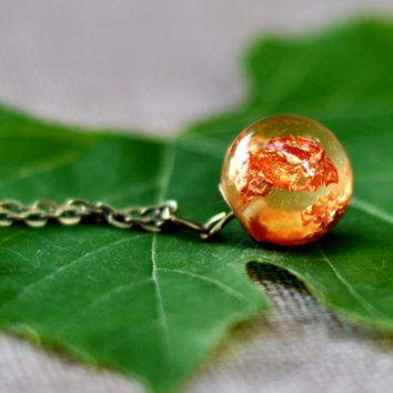 Cinnamon Orange Resin Orb With Copper Flakes - Resin Jewelry - 15mm Resin Sphere