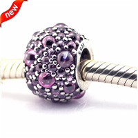 100% 925 Sterling-Silver-Jewelry Pink Shimmering Droplets Charm Silver Beads for Jewelry Making DIY Fits Bracelet Charms F349B
