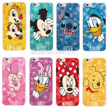 Minnie Mickey Cartoon Donald Duck Stitch Piglet  Daisy Pooh Bear Characters Phone case For iPhone 4 5 6 7 S Plus SE 5C Samsung