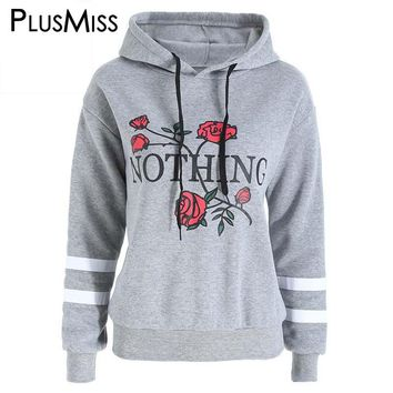 Plus Size 5XL Flocking Floral Letter Print Hoodie Sweatshirt 2017 Autumn Winter Hooded Sudadera Pullover Jumper Tracksuit