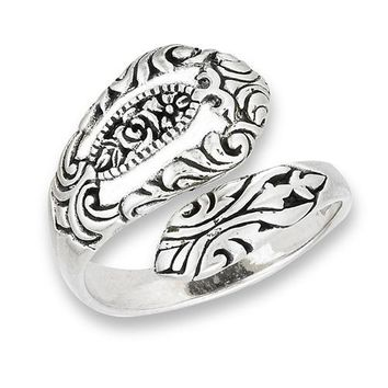 Sterling Silver Spoon Ring with Rose Motif