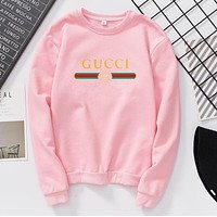 GUCCI Classic Popular Women Men Casual Print Long Sleeve Round Collar Sweater Pullover Top Sweatshirt Pink