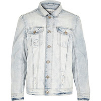 River Island MensBlue washed fade denim jacket