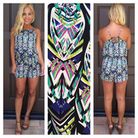 Life In The Fab Lane Printed Romper - GREEN & BLUE