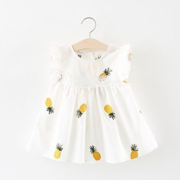Cute Baby Girls Clothes 2018 Summer Baby Girl Dress Pineapple Infant Dress Newborn Cotton Lace Ruffles Kids Dresses for Girls MDY098-White