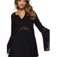 Black V-Neckline Bell Sleeve Beach Dress with Crochet Cut-Outs