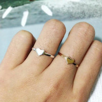 Tiny heart ring. Silver heart ring. Gold heart ring. small gift. gift for her. love ring (US size 6.5)