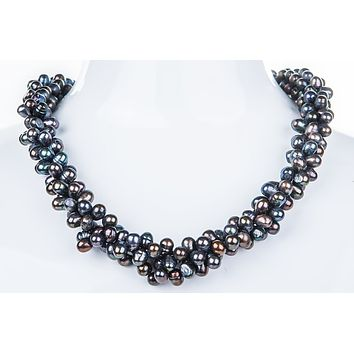 Triple Strand Twisted Dark Blue Freshwater Pearl Necklace