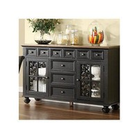 Riverside Furniture Delcastle Server in Antique Irish Pine and Aged Black