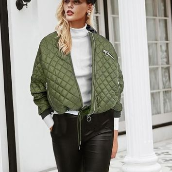 Army Quilted Laced Bomber Jacket