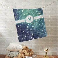 Green Starry Abstract Monogram Baby Blanket