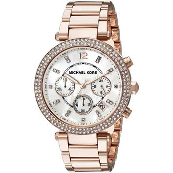 Michael Kors Women's MK5491 Rose Goldtone Chronograph Watch - Gold (Color: Gold)