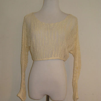 I Love H81 Open Knit Long Sleeve Crop Top S/P