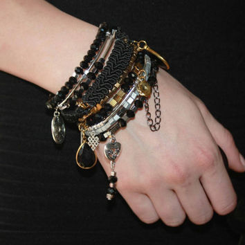 Bracelet - Black gold silver powerful cuff - Charm bangles for girls - Trendy gift set beaded jewelry stack - Beaded expandable braclets