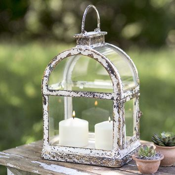 Farmhouse Country Distressed Arched Window Pane Candle Lantern Rustic Primitive
