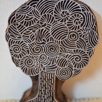 Tree stamp finely carved traditional Indian Henna carved wood block