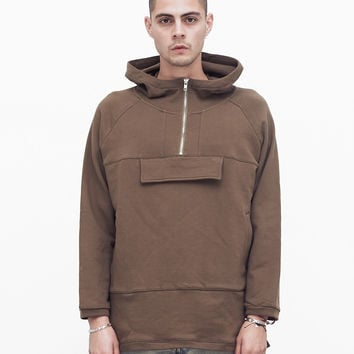 French Terry Anorak Pullover in Shadow Brown