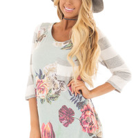 Mint Floral Print Tee Shirt with Striped Contrast
