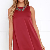Moonlit Masquerade Wine Red Swing Dress