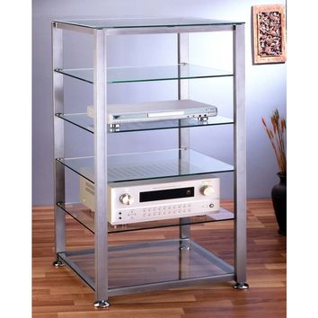 6 Shelf Audio Rack in Multiple Finishes & Glass Shelves