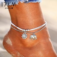 Ladies Trendy Vintage Star Elephant Anklet Bracelet Foot Jewelry