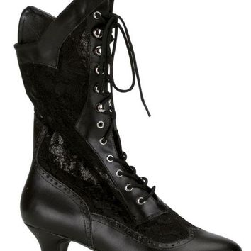 Pleaser Female 2 Inch Heel Lace Victorian Ankle Boot DAME115