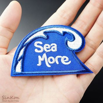 Sea Wave Size:5.0x7.9cm Iron On Badge Patches Embroidered Applique Sewing Patch Clothes Stickers Garment Apparel Accessories