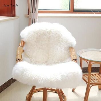 ISHOWTIENDA 60*90cm Luxury Soft Sheep Skin Rug Chair Cover Artificial Wool Warm Hairy Carpet Alfombra Seat Pad Winter Warm New