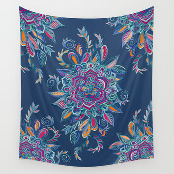 Deep Summer - Watercolor Floral Medallion Wall Tapestry by Micklyn