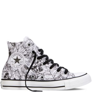 4cf643235aaf Converse Chuck Taylor All Star Floral Print White Black Hi Top