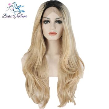 BeautyTown Heat Resistant Hair Black Root Ombre Blonde Two Tone Color Natural Wave Daily Synthetic Lace Front Wig For Gift