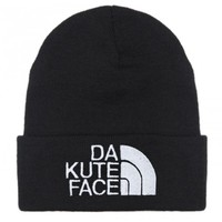 BRIAN LICHTENBERG Black Da Kute Face Beanie with White Embroidery