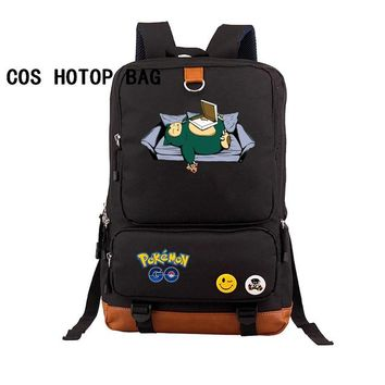Anime Backpack School kawaii cute Pokemon Pocket Monster backpack Eevee Pikachu Gengar Charmander Emoji Printing Canvas School Bags Backpack 32 style AT_60_4