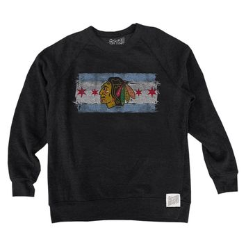 Chicago Blackhawks Chicago Flag Tri Blend Crew Neck Sweatshirt