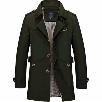 Mens Mid Length Trench Coat in Army Green