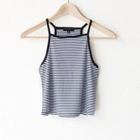 Striped Crop Tank Top - Black