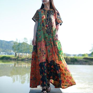 Ladies' Summer Long Beach Dress Ethnic Bohemian Shirt Dress Vintage Cotton Robe Femme Patchwork Boho Maxi Long Dresses Vestidos