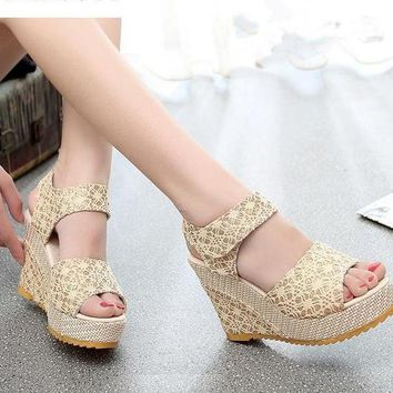 New Fashion Hollow Gladiator Wedges Casual Shoes