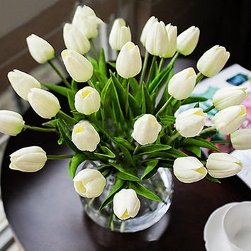 10PCS Tulip Artificial Flower Latex Real Touch Bridal Wedding Bouquet Handmade Party Home Decoration 45