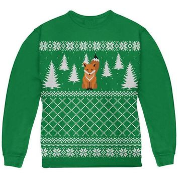 CREYCY8 Fox Ugly Christmas Sweater Green Youth Sweatshirt