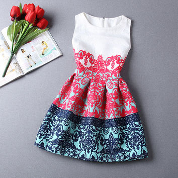 Sexy Red Floral Print Women Dress Summer Style Sleeveless Party Dresses Sundresses Plus Size Tunic Vestidos de Festa Robe 10341